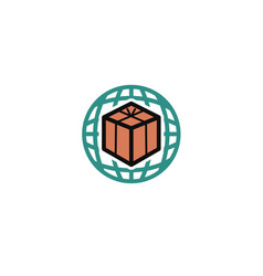 planet box symbol logo vector image