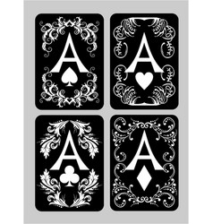 Poker cards aces set vector