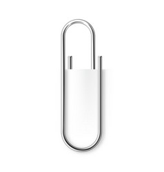 Realistic metal paper clip isolated on white vector