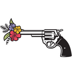 Revolver and flowers color vector