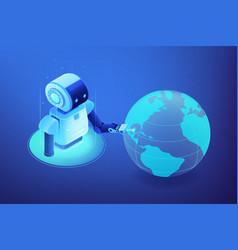Robotics network concept isometric vector