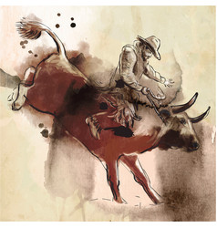 Rodeo an hand drawn freehand drawing painting vector