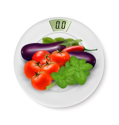 Scale with vegetables concept diet vector