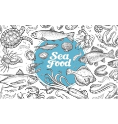 Seafood or underwater world hand-drawn sketches vector