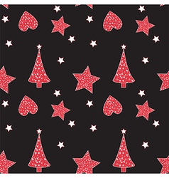 Seamless pattern with Christmas tree heart star vector image