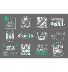 Set of back to school sale retro style vector