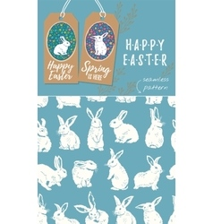 set of Easter tags and Rabbit easter vector image