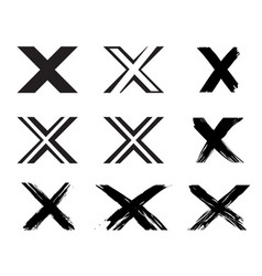 Set of x handwritten letter on white vector