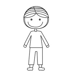 Silhouette caricature boy with coat and shorts vector