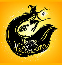 silhouette witch on broomstick with text vector image