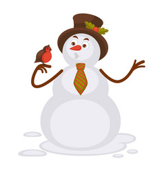 snowman in tall hat and striped tie talks to bird vector image