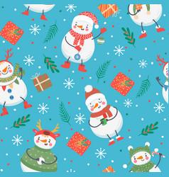snowman seamless pattern cute funny snowmen vector image