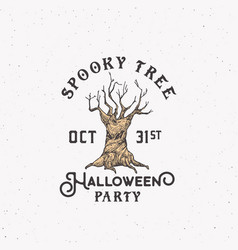 spooky tree party halloween logo or label template vector image