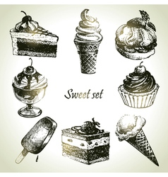 Sweet set handdrawn of cake and ice cream vector image