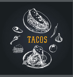 tacos menu in tacos vintage vector image