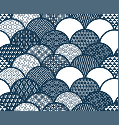 traditional geometric kimono pattern sketch line vector image