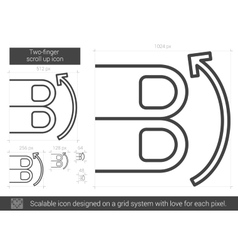 Two-finger scroll up line icon vector