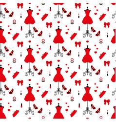 Vintage mannequin in a red dress high heels vector