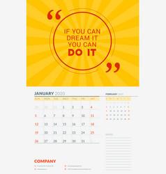 Wall calendar template for january 2020 design vector