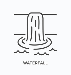 Waterfall flat line icon outline vector
