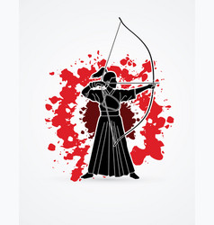 woman bowing kyudo archer sport girl vector image