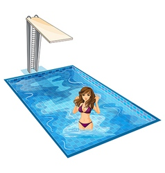 A girl with her violet bikini at the swimming pool vector image vector image