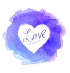 Blue watercolor painted stain with heart inside vector image