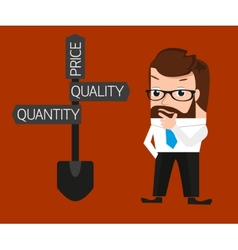 Businessman is trying to make a choice between vector image vector image