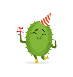 cute cactus in a party hat holding gift box funny vector image vector image