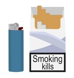 Open cigarettes pack with gas lighter vector