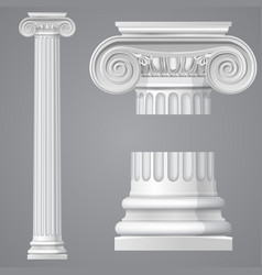 realistic antique ionic column isolated vector image