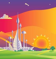 wind turbines farm vector image