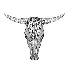 Zentangle stylized bull skull Sketch for tattoo vector image