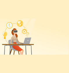 Business woman in vr headset working on a computer vector