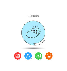 Cloudy day with sun icon overcast weather sign vector