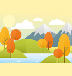 flat autumn nature landscape vector image