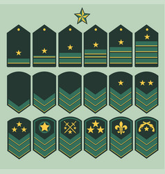 military ranks set army patches vector image vector image