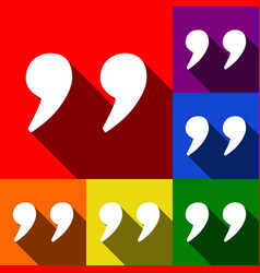quote sign set of icons with vector image