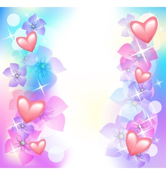 Valentine hearts with flowers vector image