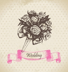 Wedding bouquet hand drawn vector image