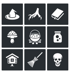 Witch icons vector image