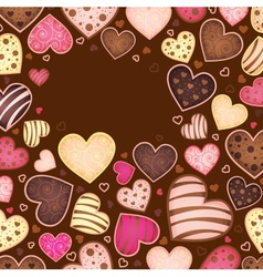 chocolate background for text with heart vector image vector image