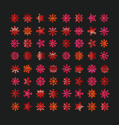 different abstract red snowflakes collection vector image