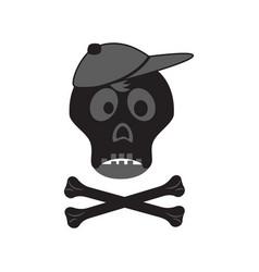 Funny skull with crossbones in a cap vector