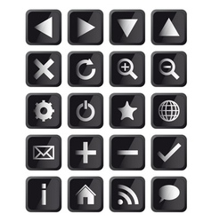 Glossy Black Square Navigation Web Icons vector image