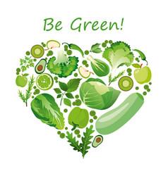 heart shape of green fruits vector image