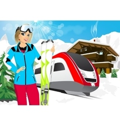 pretty woman skier in mountain resort vector image vector image