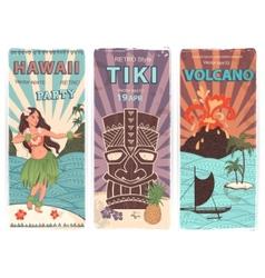 Retro set of banners with Hawaiian symbols vector image vector image