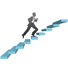 Business man running climb stairs vector image
