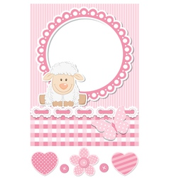 Happy baby sheep pink scrapbook set vector image